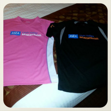 """Hers"" and ""His"" race tech shirts"